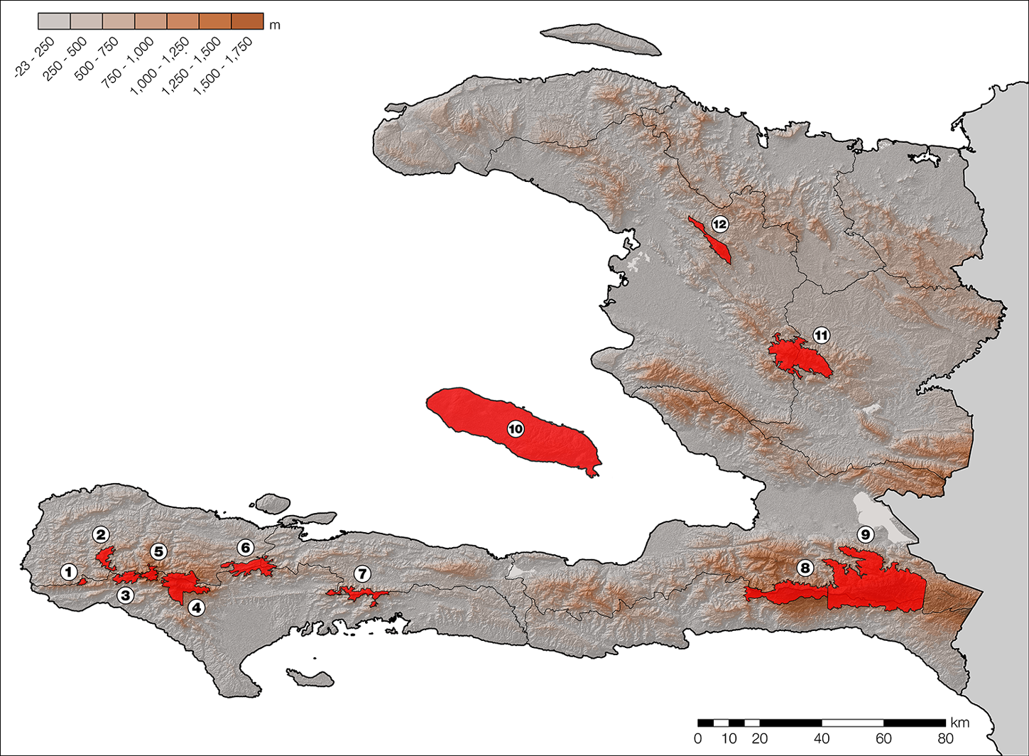 This is a map of Haiti with highlighted hotspot regions